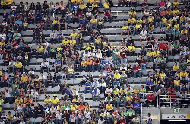 Empty seats were visible in Curitiba.(AP Photo/Martin Meissner)