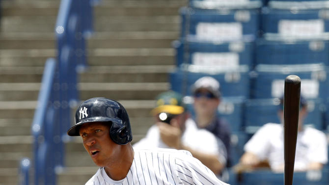 New York Yankees' Alex Rodriquez bats in the six inning for the Tampa Yankees against the Dunedin Blue Jays in a minor league rehab game in Tampa, Fla., Wednesday, July 10, 2013. (AP Photo/Scott Iskowitz)