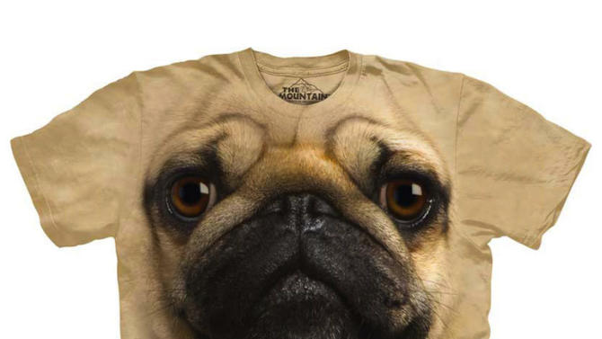 """This undated image provided by Fab.com shows a pug T-Shirt available on Fab.com. Bradford Shellhammer, founder of Fab.com, which sells unusual items like inventive keyholders and canvas carryalls with images of iconic designer handbags, says gifts fit into three categories: the things everyone knows you want, the bad surprises and the amazing things that makey you wonder, """"How did I live without it?"""" Shellhammer predicts the Mountain Pug Tee will be a top seller this season.  (AP Photo/Fab.com)"""