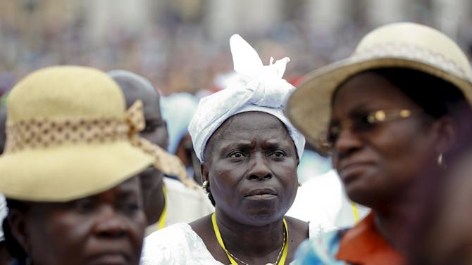 A group of faithful from Gabon attend Pope Francis' Wednesday general audience in Saint Peter's Square at the Vatican