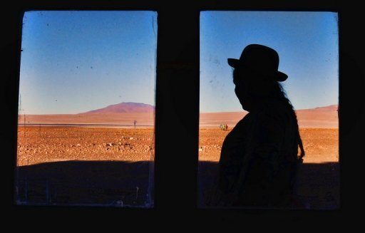 A local native is seen outside a hotel in the Salar de Uyuni, Bolivia, on October 7, 2009. Five Australian tourists who got lost in the Salar de Uyuni salt flat have been found, but their local guide is still missing, according to Bolivian police.