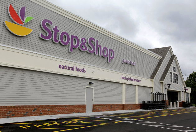 This Tuesday, June 5, 2012, photo, shows the new Stop & Shop super market store in Pembroke, Mass. Royal Ahold NV, the Dutch owner of U.S. supermarket chains Stop & Shop and Giant, says first quarter