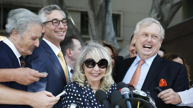 Shelly Sterling, 79, speaks at a press conference with her lawyer Pierce O'Donnell and Steve Ballmer's lawyer Adam Streisand in Los Angeles