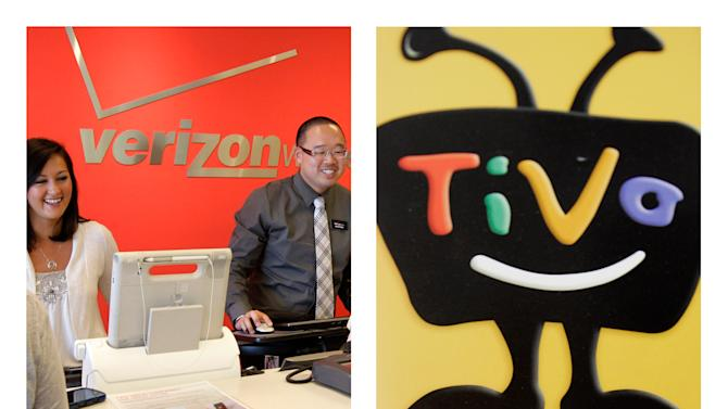 This combination of Associated Press file photos shows a Verizon store on June 12, 2012, left, and the Tivo logo on display at a Best Buy store on March 6, 2007, both in Mountain View, Calif. Verizon will pay Tivo Inc. at least $250.4 million to license its digital video recording technology and settle a patent lawsuit on Monday, Sept. 24, 2012. It is the third settlement that Tivo has gotten in major patent cases. (AP Photo/File)