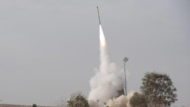 FILE - In this Saturday, Nov. 17, 2012 file photo, an Israeli Iron Dome missile is launched near the city of Be'er Sheva, southern Israel, to intercept a rocket fired from Gaza. Israel's military has deployed Iron Dome defense system to the north of the country on Sunday May 5, 2013 following Israeli airstrikes in neighboring Syria targeting weapons believed to be destined for Lebanon's Hezbollah militants. Iron Dome protects against short-range rockets and Hezbollah has thousands of such projectiles. (AP Photo/Ahikam Seri, File)