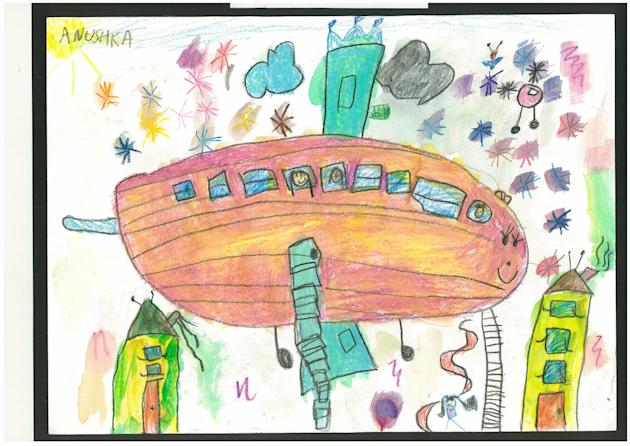 Anushka Sharma, 4, draws one of her favourite childhood memories of being on an aeroplane with her family. (Arts Kidz Preschool)