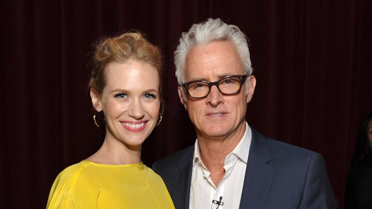 COMMERCIAL IMAGE - In this image provided by AMC, January Jones and John Slattery attend the Mad Men screening at the Academy of Television Arts & Sciences on Sunday June 10, 2012 in the North Hollywood section of Los Angeles. (Photo by John Shearer/Invision for AMC/AP Images)