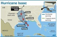 Map showing forecast movement Hurricane Isaac moves toward Lousiana