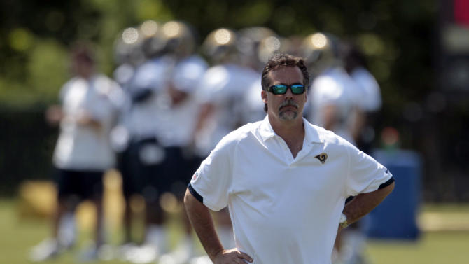 FILE - This May 16, 2012 file photo shows St. Louis Rams head coach Jeff Fisher during NFL football practice at the Rams' training facility in St. Louis. Besides building a stronger roster after a year away from the NFL, new coach Jeff Fisher has been working on instilling a positive attitude and brushing aside the bad old days.  (AP Photo/Jeff Roberson, File)