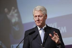 "Former U.S. President Bill Clinton gives a keynote address at a conference on ""inclusive capitalism"" in London"