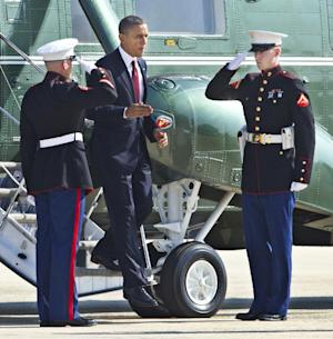 President Barack Obama disembarks Marine One on his way to switch to Air Force One at Andrews Air Force Base, Md., Friday, Aug. 31, 2012, for a trip to Fort Bliss in Texas.   (AP Photo/Manuel Balce Ceneta)