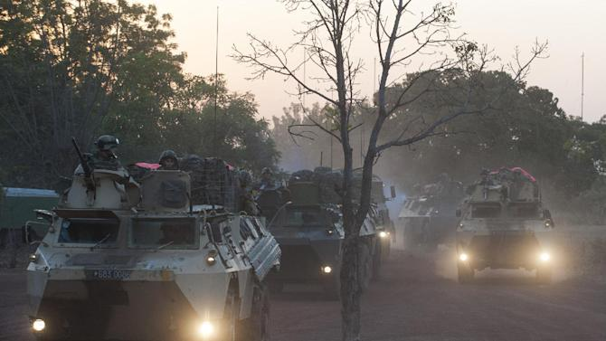 "In this picture released by the French Army Communication Audiovisual office (ECPAD) French armored vehicules drive to the north of Mali, outside Bamako, Wednesday, Jan. 16, 2013. French troops pressed northward in Mali toward territory occupied by radical Islamists on Wednesday, military officials said, announcing the start of a land assault that will put soldiers in direct combat ""within hours."" (AP Photo/Arnaud Roine, ECPAD)"