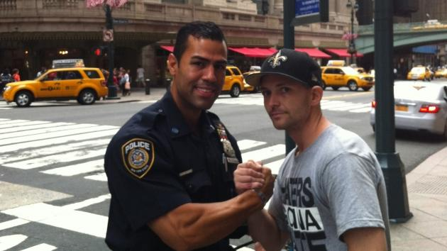 J.W. Cortes and Marine Corp. Sargeant Tyler Dodd in NYC, August 27, 2012 -- J.W. Cortes