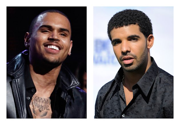 This combination of 2012 and 2011 file photos shows hip hop stars Chris Brown, left, and Drake. New York City police investigated a report Thursday, June 14, 2012 of a bar brawl involving hip-hop stars Drake and Chris Brown and their entourages in which bottles flew and five people were injured. (AP Photo/Matt Sayles, Chris Pizzello)