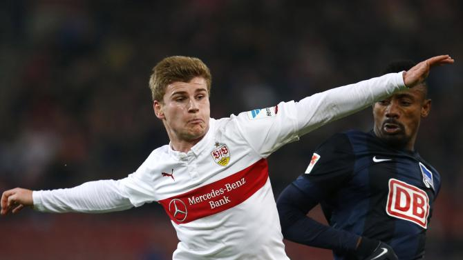 VfB Stuttgart's Werner challenges Hertha Berlin's Kalou during their German first division Bundesliga soccer match in Stuttgart