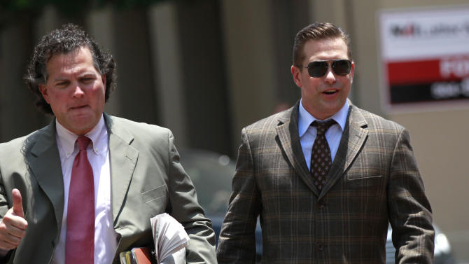 Stephen Baldwin, right arrives with his attorney Leo Palazzo at Federal Court on Thursday, June 14, 2012 in New Orleans.  A jury is set to hear closing arguments in the trial for Baldwin's lawsuit against Kevin Costner over their multimillion dollar business dispute in the aftermath of the 2010 oil spill in the Gulf of Mexico. The lawsuit accuses Costner and Smith of duping Baldwin and friend Spyridon Contogouris over their investments in an oil cleanup device that BP used after the spill. (AP Photo/Gerald Herbert)