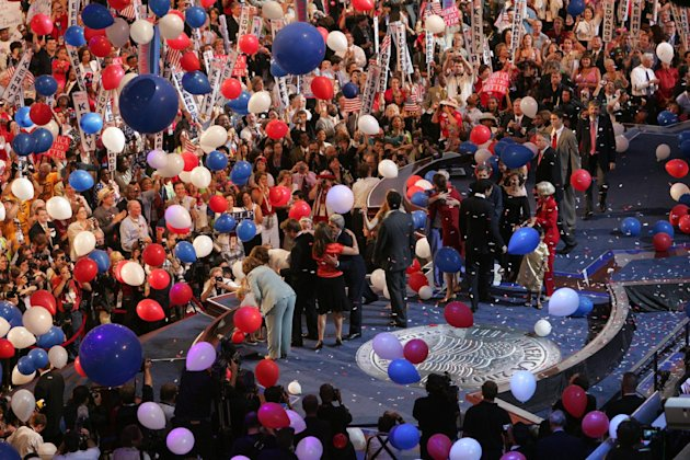 FILE - In this July 29, 2004 file photo, balloons fall near the stage and the end of the Democratic National Convention in Boston. With a threat of rain, there will be no downpour of balloons. A Democratic convention official says the finale at the Democratic National Convention will miss the traditional massive balloon drop after President Barack Obama delivers his nomination acceptance speech. (AP Photo/Dave Martin, File)