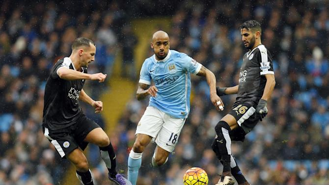 Leicester City's Daniel Drinkwater and Riyad Mahrez in action with Manchester City's Fabian Delph