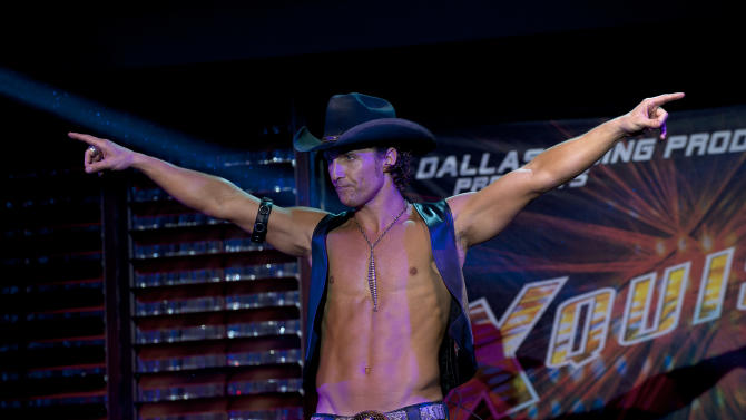 """This film image released by Warner Bros. shows Matthew McConaughey in a scene from """"Magic Mike."""" On Monday, Dec. 3, 2012, The New York Film Critics Circle announced their picks for best film and the top performances of the year, one of the first major awards in the drumbeat ahead of the Academy Awards. The supporting actor pick went to Matthew McConaughey for his performances as both a Texas district attorney in Richard Linklater's """"Bernie"""" and as a male stripper in Steven Soderberg's """"Magic Mike."""" (AP Photo/Warner Bros., Claudette Barius)"""