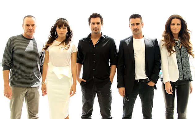 "From left, actor Bryan Cranston, actress Jessica Biel, director Len Wiseman, actor Colin Farrell, and actress Kate Beckinsale, from the upcoming film ""Total Recall"", pose for a portrait during Comic-Con, Friday, July 13, 2012, in San Diego. (Photo by Matt Sayles/Invision/AP)"