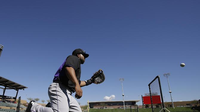 Colorado Rockies' Wilin Rosario participates in a drill before a spring training baseball game against the Arizona Diamondbacks Wednesday, March 4, 2015, in Scottsdale, Ariz. (AP Photo/Darron Cummings)