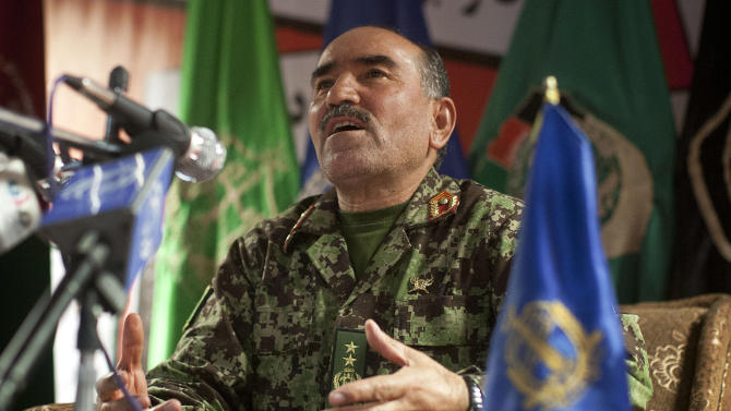 Gen. Mohammad Sharif Yaftali, commander of Afghanistan's 203rd Thunder Corps, reacts during a press conference at his headquarters in Gardez, Afghanistan, Tuesday, April 2, 2013.  Despite questions about the ability of the Afghan army to successfully take the fight to the insurgency,  U.S. and coalition military officials say that the nascent force has made great strides in the past year and has surpassed many of their expectations. (AP Photo/Anja Niedringhaus)