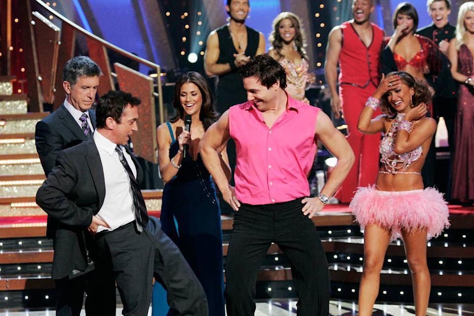 Bruno Tonioli teaches Rocco DiSpirito how to shake his hips on Dancing with the Stars. Karina Smirnoff
