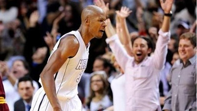Miami Heat's Ray Allen celebrates his game-winning three-point basket against Cleveland Cavaliers (Reuters)