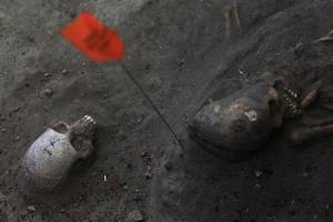Marked human skulls are seen at a construction site in the former war zone in Mannar