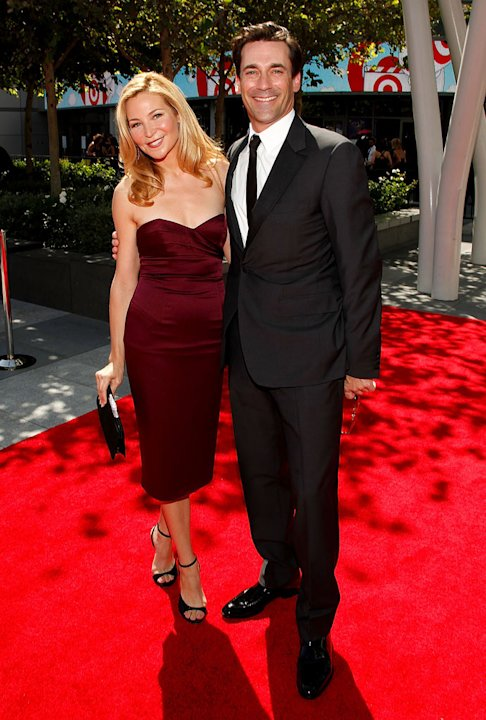 Jon Hamm and actress Jennifer Westfeldt arrive at the 61st Primetime Creative Arts Emmy Awards held at the Nokia Theatre LA Live on September 12, 2009 in Los Angeles, California.