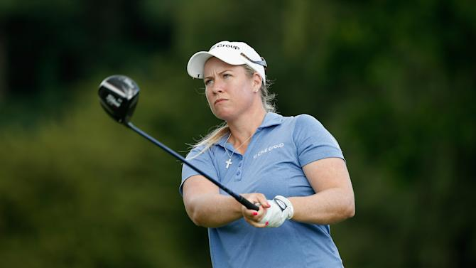 Brittany Lincicome of the US watches her tee shot on the 18th hole during the second round of the Wegmans LPGA Championship, at Monroe Golf Club in Pittsford, New York, on August 15, 2014