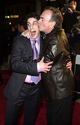 Jason Biggs and Neil Diamond in an amorous mood at the Mann Village Theater premiere of Columbia's Saving Silverman