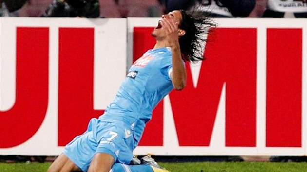 Napoli's Edinson Cavani celebrates after scoring against Roma (Reuters)