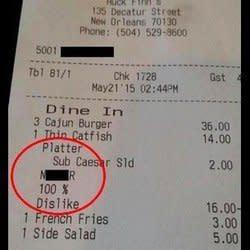 New Orleans Restaurant Under Fire For Racist Receipt