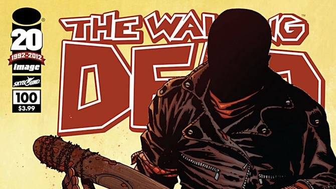 """This comic book cover image released by Image Comics shows issue 100 from The Walking Dead series, """"Something to Fear.""""  The issue claims the top spot as 2012's top-selling comic book. (AP Photo/Image Comics)"""