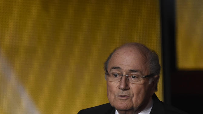 FIFA president Sepp Blatter delivers the opening speech during the 2014 FIFA Ballon d'Or award ceremony at the Kongresshaus in Zurich on January 12, 2015