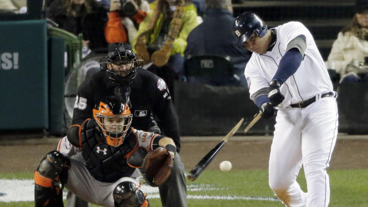 Detroit Tigers third baseman Miguel Cabrera breaks a bat as he grounds out to shortstop during the eighth inning of Game 3 of baseball's World Series Saturday, Oct. 27, 2012, in Detroit. (AP Photo/Charlie Riedel)