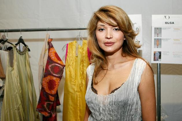 Gulnara Karimova poses backstage during the New York Fashion Week at the Lincoln Center, on September 10, 2010