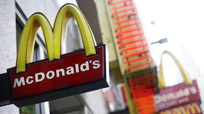 The McDonald's sign is seen outside its store at the Times Square in New York
