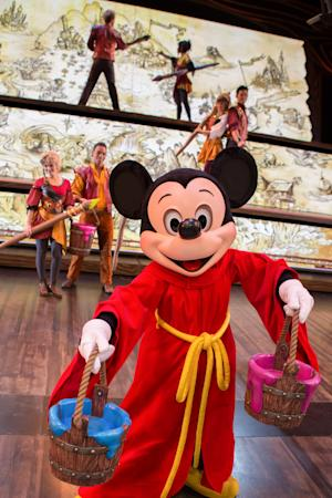 "This May 10, 2013 photo released by Disneyland Resort shows character Mickey Mouse from the live show ""Mickey and the Magical Map,"" a 22-minute song-and-dance extravaganza at Fantasyland Theatre in Disneyland Park in Anaheim, Calif. (AP Photo/Disneyland Resort, Paul Auyeung)"