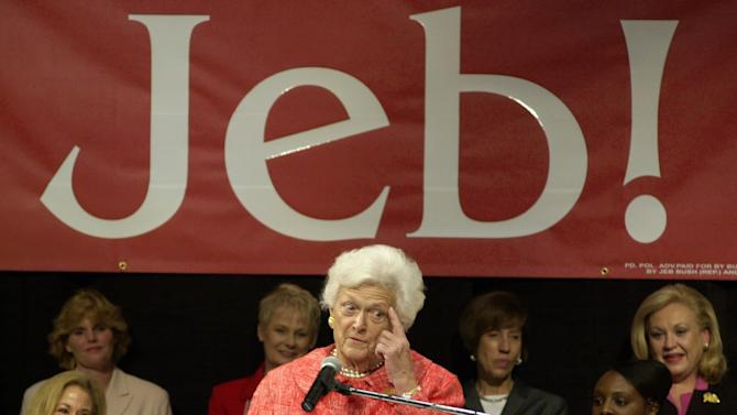 """FILE – In this Oct. 22, 2002, file photo former first lady Barbara Bush makes a point as she campaigns for her son, Florida Gov. Jeb Bush, at Nova Southeastern University in Davie, Fla. Amid the celebration surrounding the opening of son George W. Bush's presidential library, Barbara Bush is brushing aside talk of her son Jeb running for president in 2016. When asked how she felt about it she told NBC's """"Today"""" show, Thursday, April 25, 2013, """"We've had enough Bushes.""""  (AP Photo/Marta Lavandier, File)"""