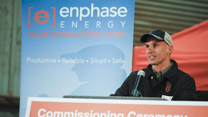 Bill Rossi, chief marketing officer of Enphase Energy presents at the Enphase Energy 902kW solar commissioning ceremony at Strain Ranch in Arbuckle, Calif., Tuesday, Feb. 19, 2013.  (Alison Yin/AP Images for Enphase Energy)