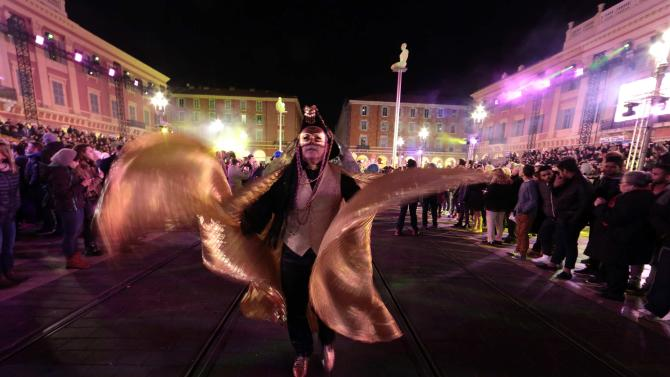 """A reveller takes part in """"Lou Queernaval"""", the first LGBT carnival in France, as part of the Carnival of Nice"""