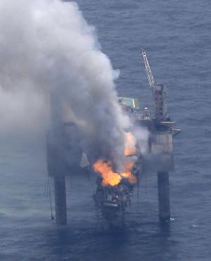 Rig for relief well being positioned at gas leak