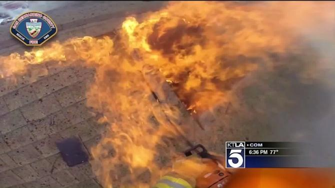 Body-Cam Video Shows Firefighters Battling Dramatic Blaze at Victorville Home