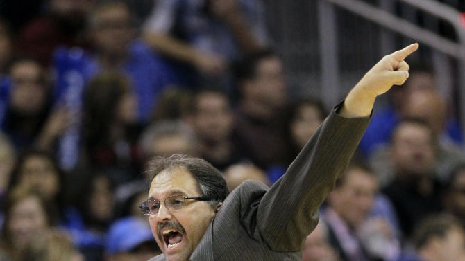 FILE - This Feb. 8, 2012 file photo shows Orlando Magic coach Stan Van Gundy shoutiung instructions to his players during the second half of an NBA basketball game against the Miami Heat, in Orlando, Fla. The Magic have fired coach Van Gundy after a rocky season. The moves came Monday, May 21, 2012 after the team's second straight first-round playoff exit. (AP Photo/John Raoux, File)