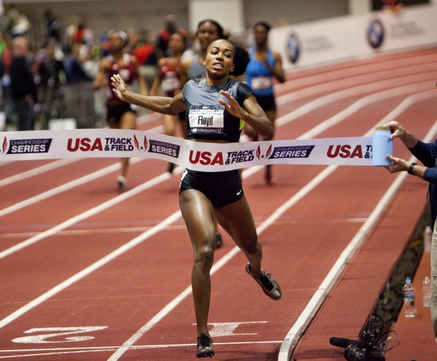 Floyd wins the finals of the women's 400 meter dash at USA Indoor Track and Field Championships in Albuquerque