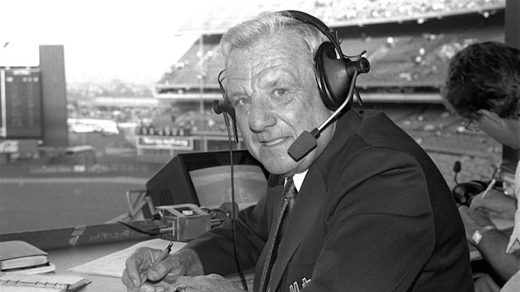 FILE - In this May 10, 1985 file photo, Hall of Famer Ralph Kiner, now a New York Mets' broadcaster, is shown at Shea Stadium in New York. The baseball Hall of Fame says slugger Ralph Kiner has died. He was 91. The Hall says Kiner died Thursday, Feb. 6, 2014, at his home in Rancho Mirage, Calif.(AP Photo/Ron Frehm, File)