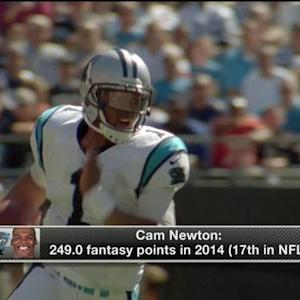 What is Carolina Panthers quarterback Cam Newton's fantasy value in 2015?