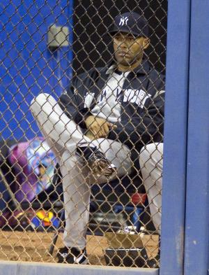 New York Yankees closer Mariano Rivera sits in the bullpen during seventh inning MLB baseball game action against the Toronto Blue Jays in Toronto, Friday, Sept. 16, 2011. The Blue Jays defeated the Yankees 5-4. (AP Photo/The Canadian Press, Darren Calabrese)